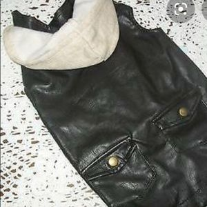 Pet Faux Leather Hooded Jacket Sz. M